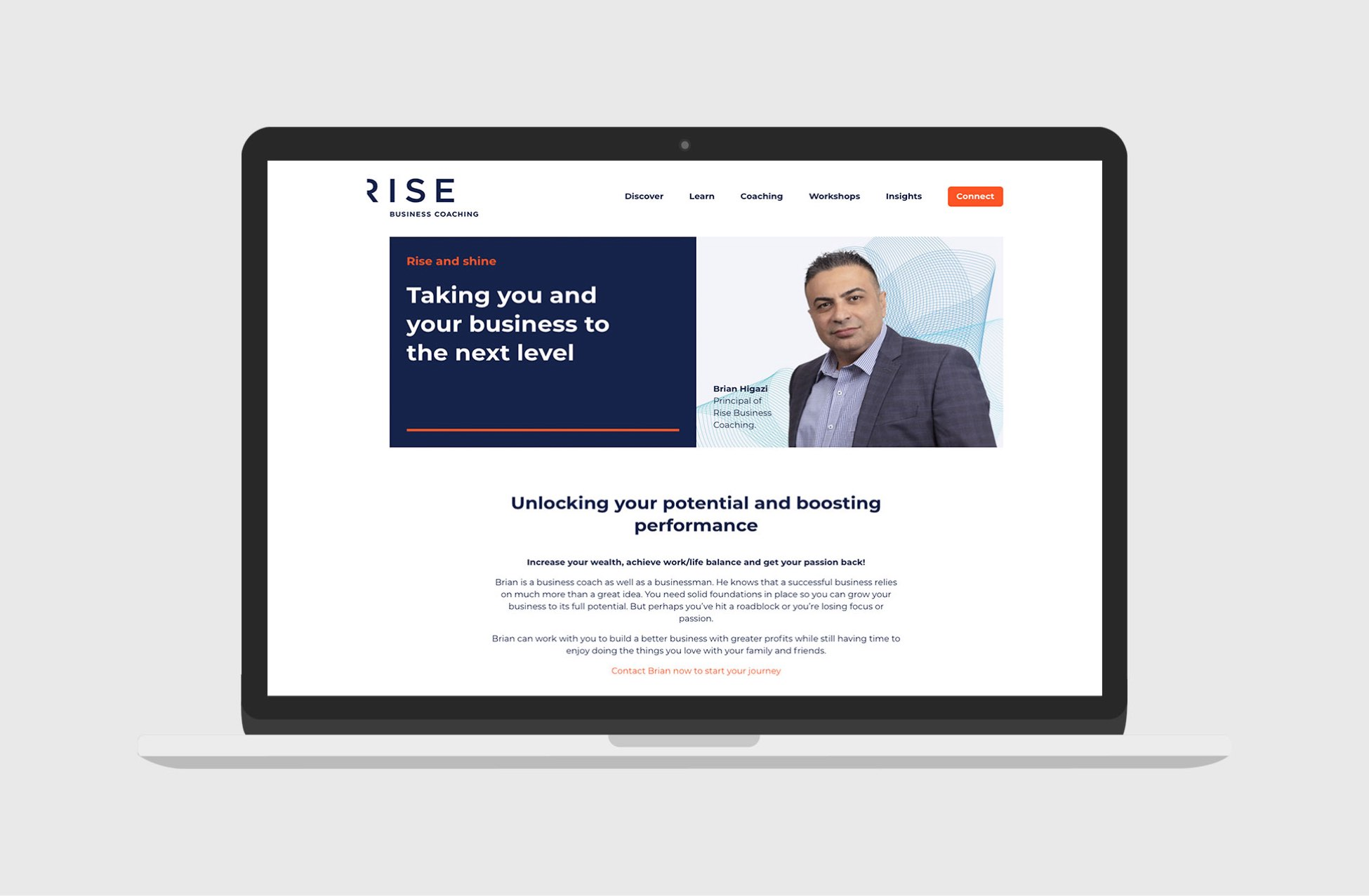 Rise Business Coaching website