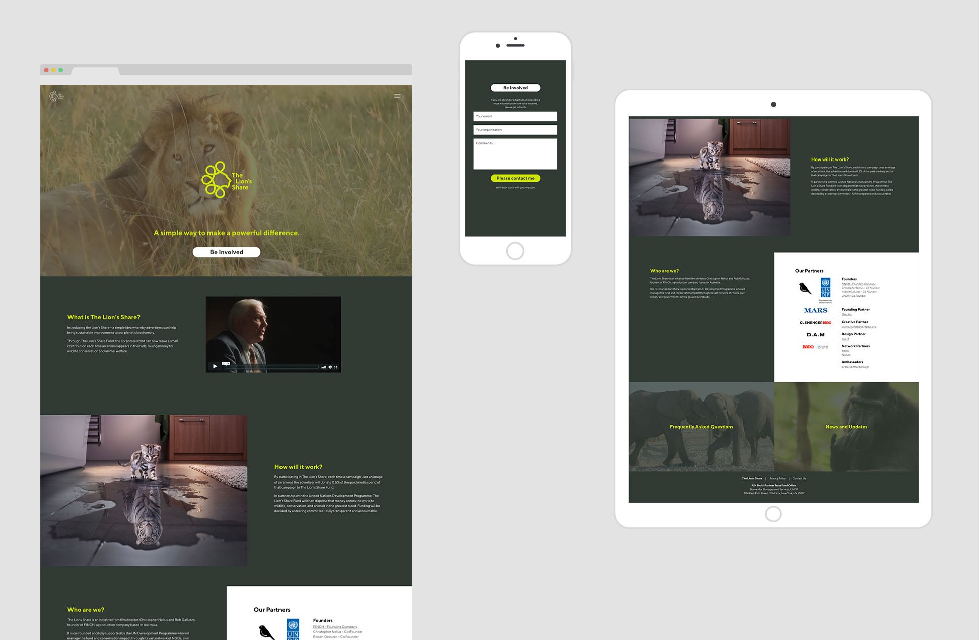 The Lion's Share responsive screens